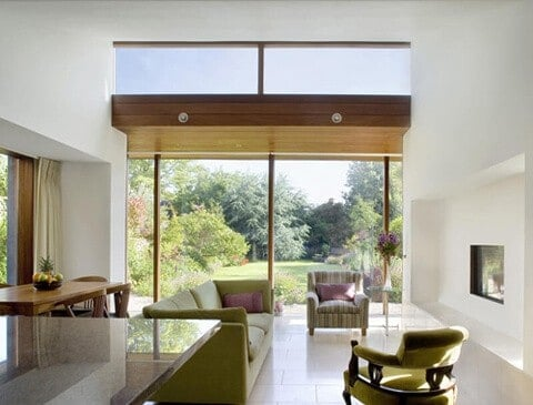 Garden view of a contemporary interior in a house extension in South Dublin
